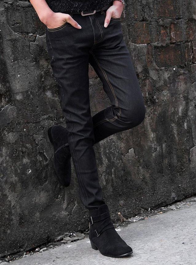 Gros-NEW 2016 Hommes intérieur mince élastique noir solide Jeans Homme Homme Skinny Black Stretch Adolescent Hip Hop Jeans Homme