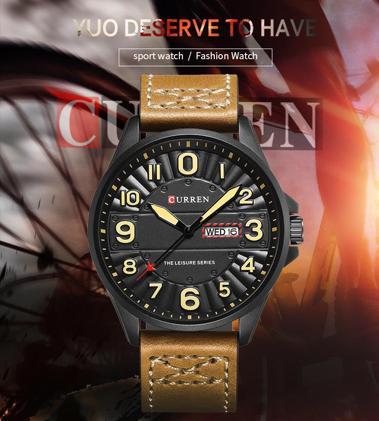 CURREN Men Wrist Watch Man Top Brand Luxury Sports Male Watches Leather Army Military Mens Wristwatch Relojes Hombre 8269