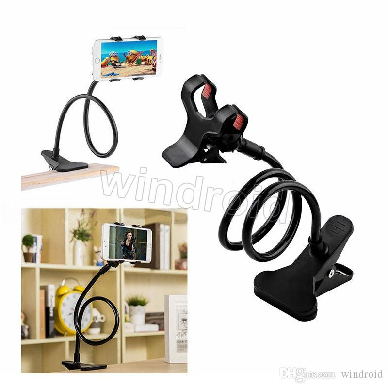 Long Arm Universal Two Clips Moblie Phone Holder Bed Desktop Moblie Stand 80 cm Flexible Extendable Lazy Bracket 360 degree Free shipping