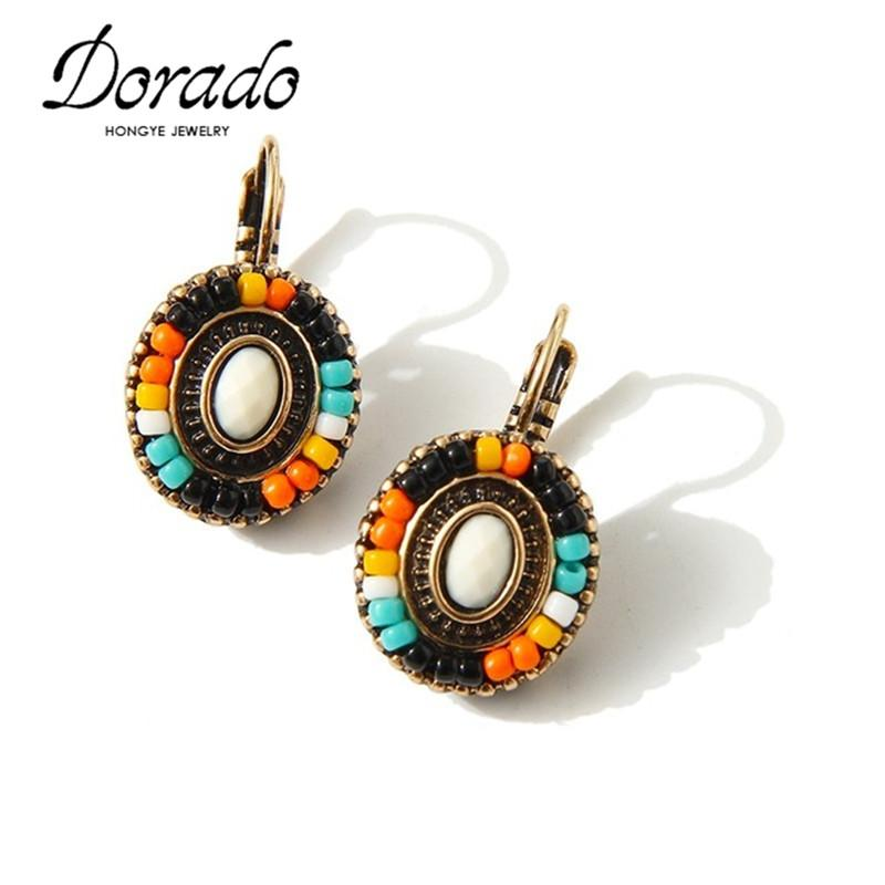 Delicate Bohemian Flower Earrings Clip On The Earrings Wholesale Cheap Colorful Resin Beads Earrings For Women Custume Gift