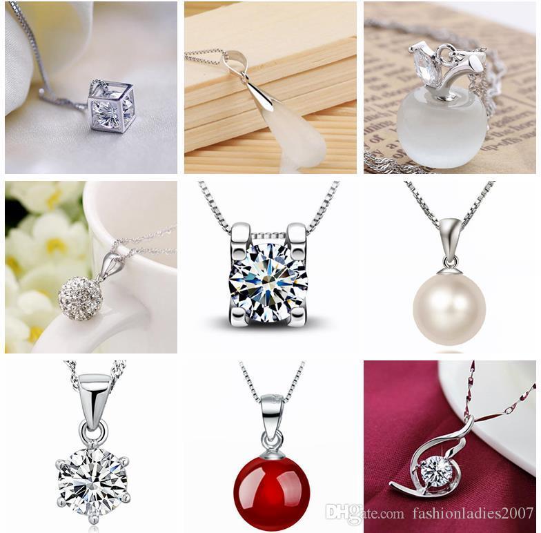 45 estilos 925 collar de plata esterlina sin cadena de moda encantos colgantes collares perla cristal flor colgantes joyería