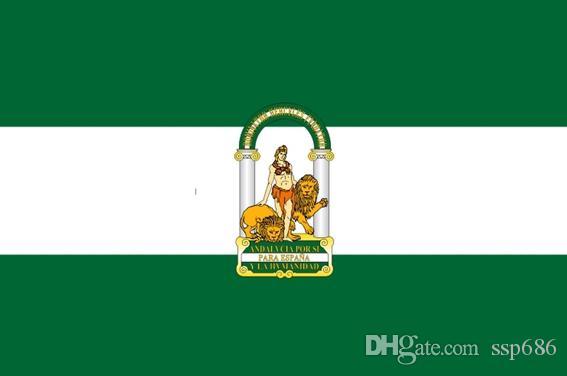 Andalusia Bandiera Andalusia Spagna Spanish Flag 3ft x 5ft poliestere bandiera di volo 150 * 90cm bandiera esterna su ordinazione UA32