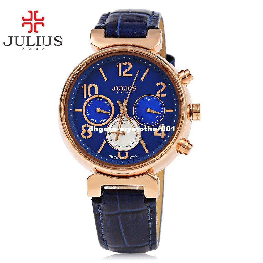 Reloj de cuarzo Relojes de mujer Marca JULIUS Reloj de pulsera de lujo Reloj de pulsera Señora Reloj de cuarzo Montre Femme Relogio Feminino