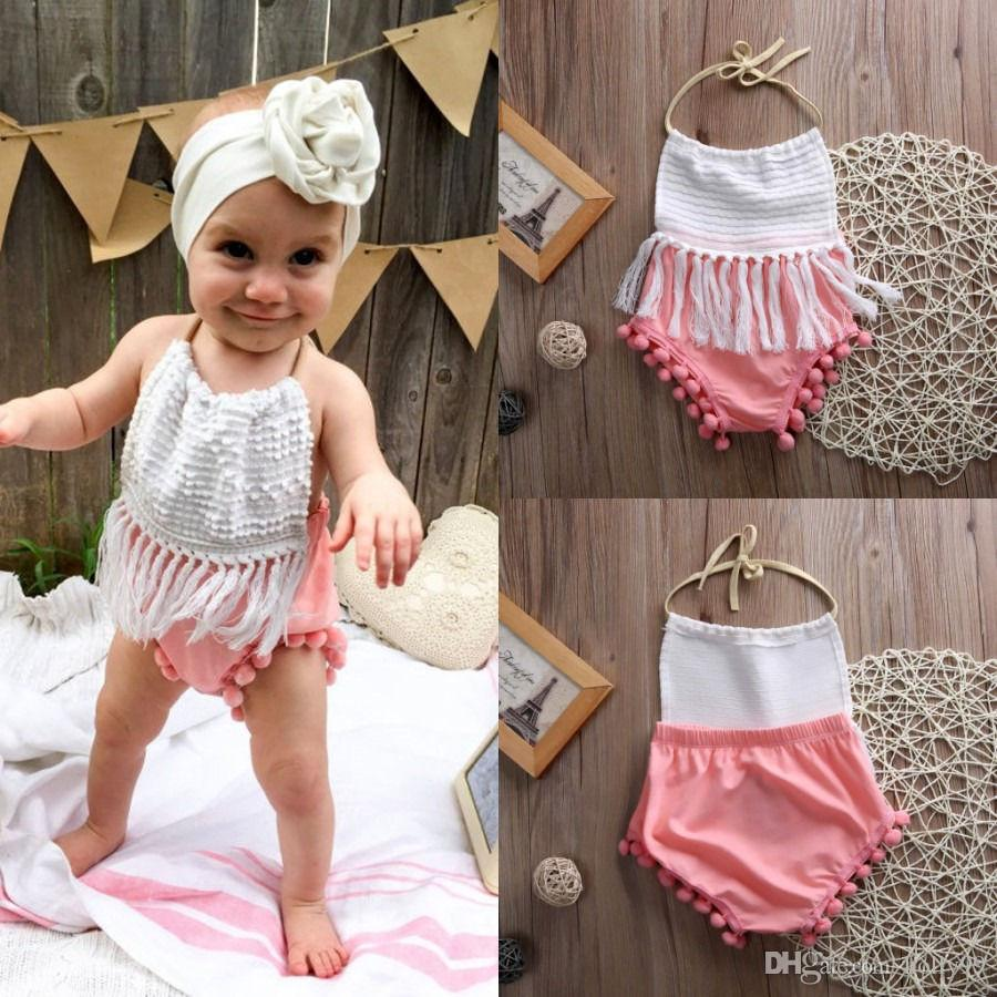 2596a6ed2471e high quality baby girls outfits Newborn Infant child Girl sweet Clothes  Tassels Strap cute pink Romper Bodysuit Jumpsuit Outfits free shippi
