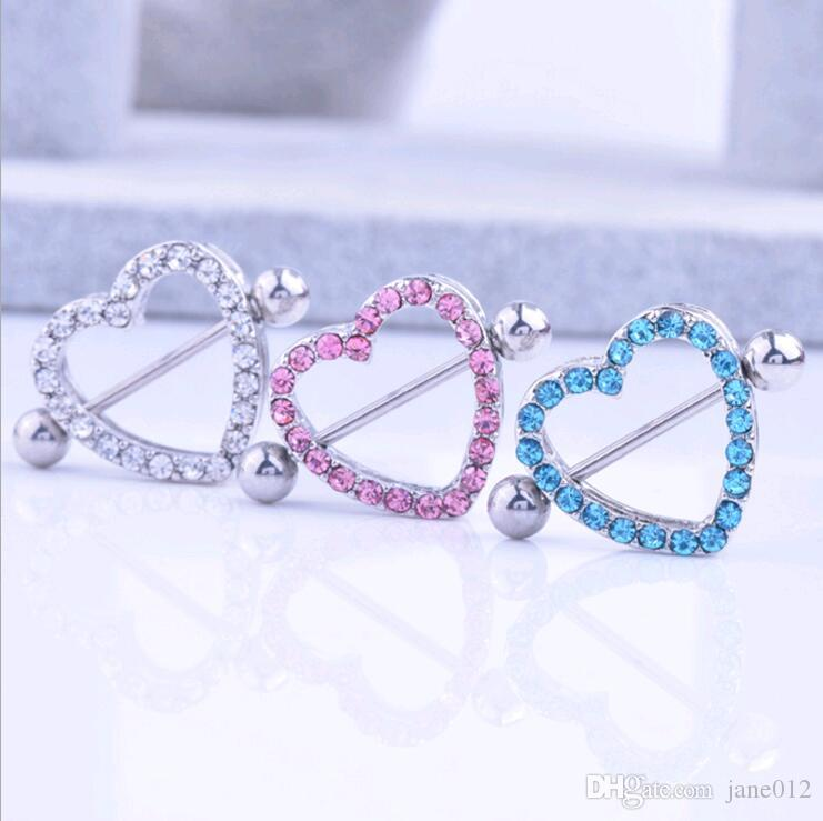 Nipple Shield Rings Barbells Love Heart Medical Stainless Steel CZ Diamond Rhinestone Nipple Body Piercing Jewelry Pink Blue White