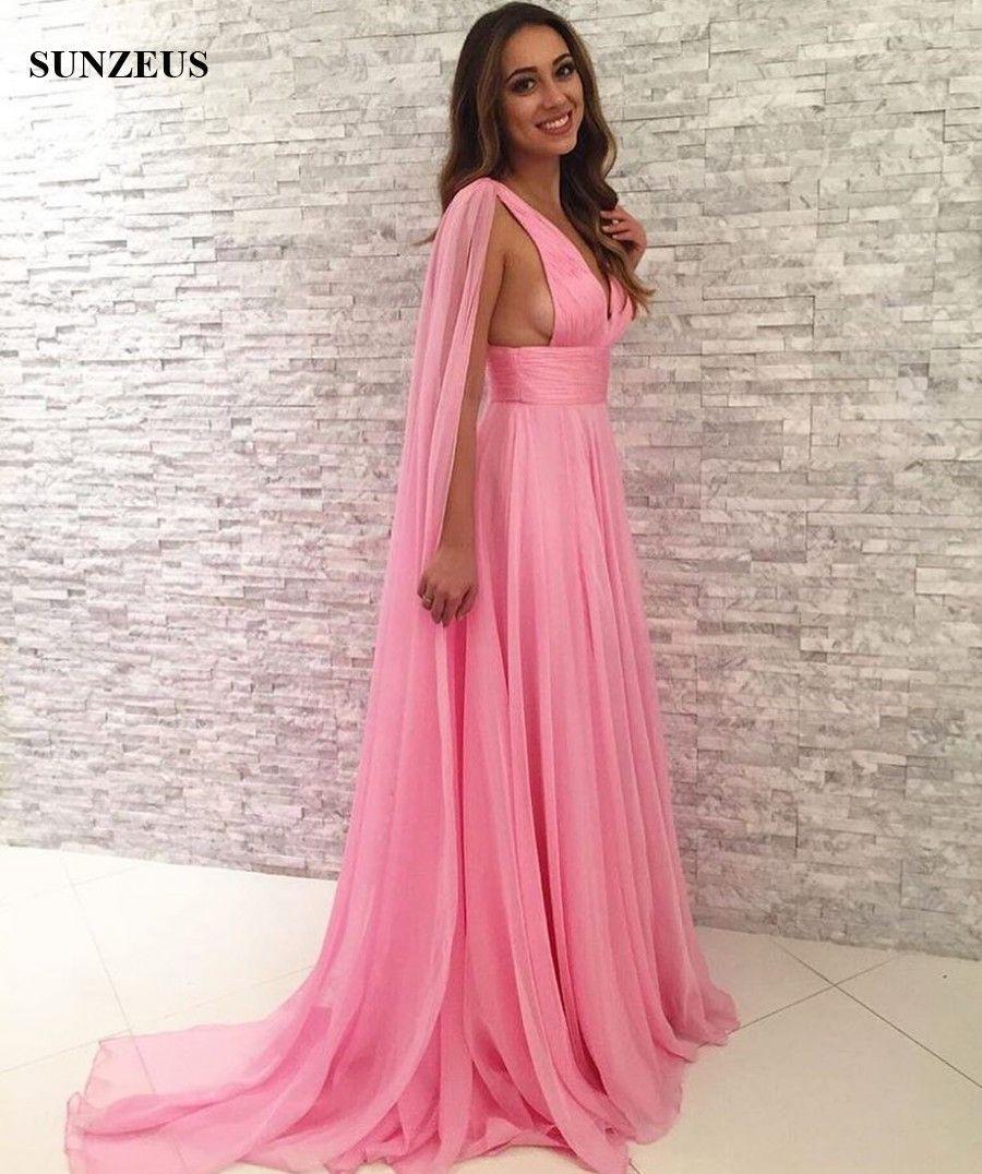 Vestido de fiesta sexy con cuello en V Vestidos de fiesta largos de gasa rosa con tren Watteau vestido longo rosa