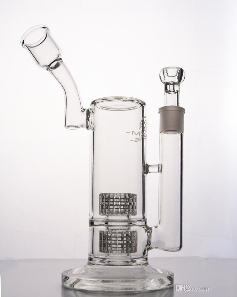 Mobius tasarım Cam bongs dab teçhizat 18 mm derz ile Çift Stereo Matrix Perc su borusu