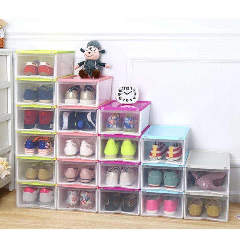 متعددة الأغراض البلاستيك حذاء صندوق شفاف واضح تخزين علب الأحذية المنزلية ديي تخزين مربع منظم (5 اللون)