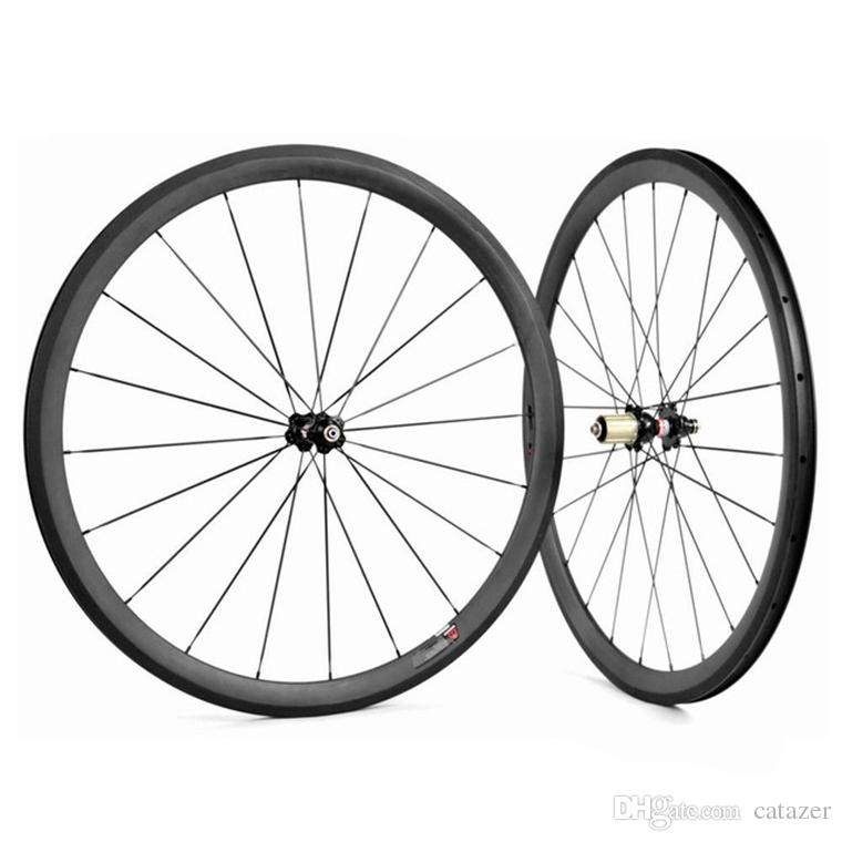 Juego de ruedas de bicicleta de carbono 700C 23 mm de ancho 38 mm Carcasa de ruedas tubulares de carbono Rueda de bicicleta de carbono R36 Hub