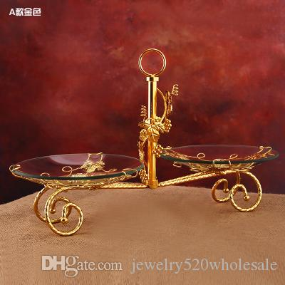Three glass fruit plates fruit cake trays with metal pillar stand decoration for wedding party