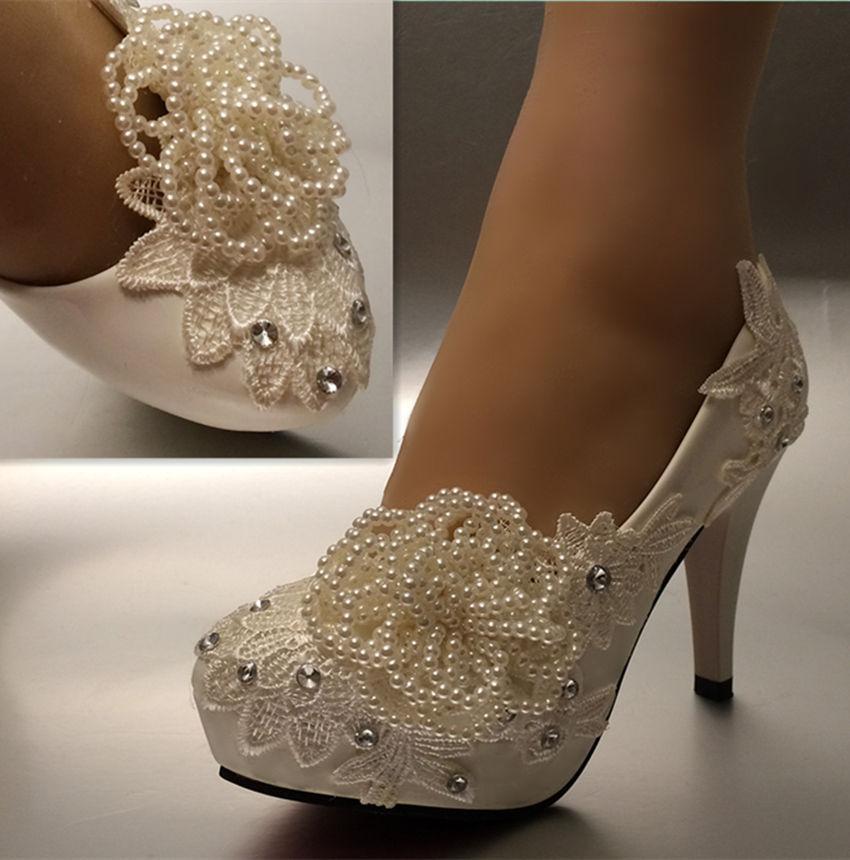 Trasporto libero nuovo modo bianco avorio perla pizzo cristallo scarpe da sposa tacchi nuziali pompe taglia 5-11