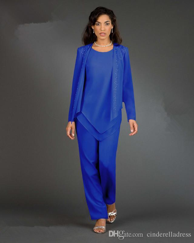 New Designer 3-Piece/set Royal Blue Chiffon Mother of The Bride Pant Suits Long Sleeves Women Party Gowns Lady Plus Size Evening Dresses