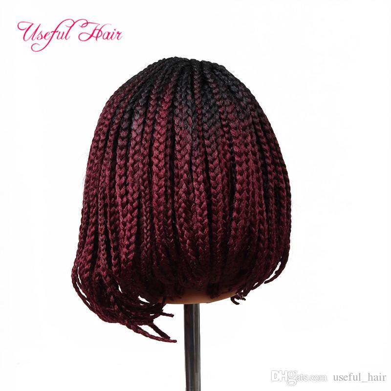 """Livraison gratuite 14"""" 24inch perruques avant de dentelle synthétique synthétique perruques perruque tressée BOBO dentelle avec bébé perruques de cheveux pour femmes Noir tresses marley"""