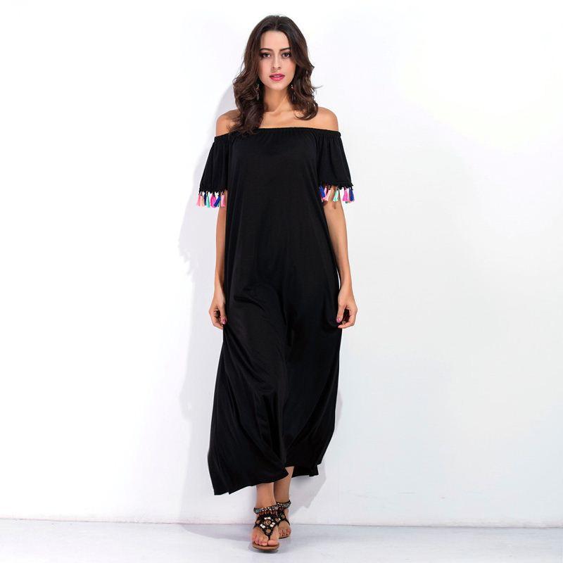 2017 Nouvelle Arrivée Femmes Vintage Noir Gland À Manches Courtes À Mi-mollet Robes Bohème Dames Casual D'été Plage Vin Rouge Robe 2XL