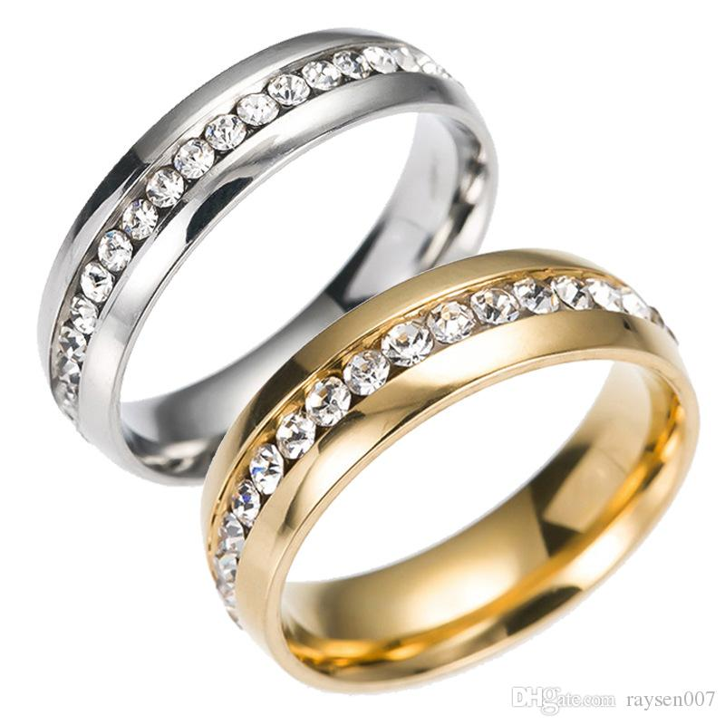 Fashion crystal rings full diamond 316L Titanium steel wedding band rings for women and men 18K gold silver plated couples rings jewelry