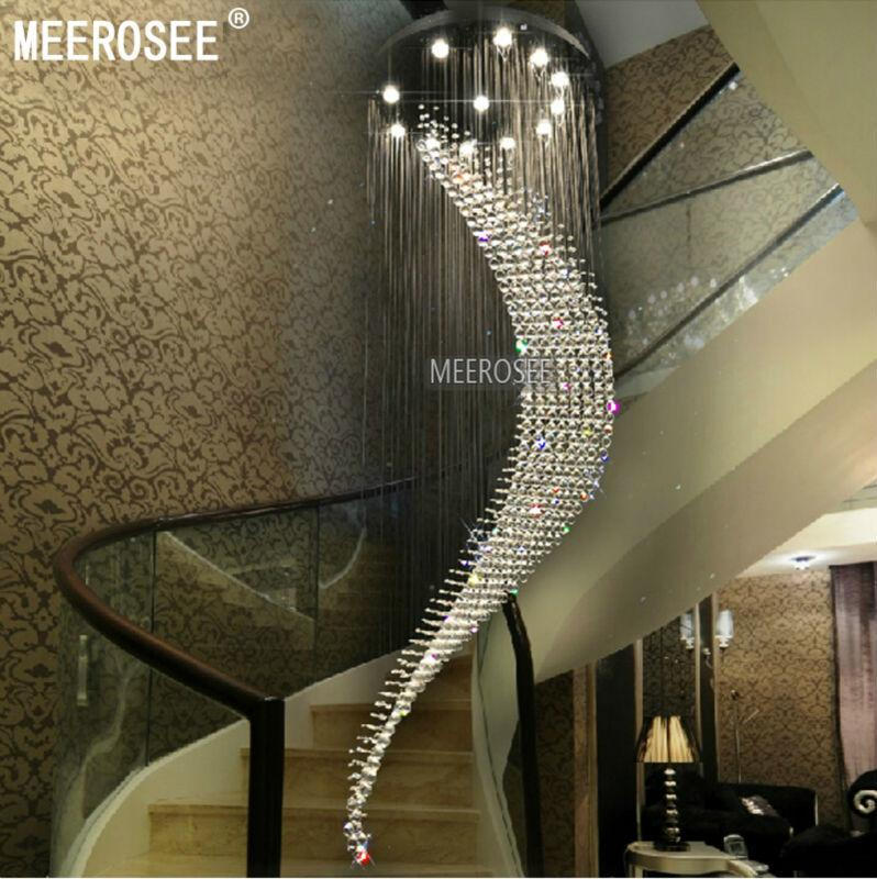 Large Spiral Crystal Ceiling Light fixture big lustres de cristal light fitting Villa Crystal L& for Staircase Hallway Lobby 2018 from meerosee11 ... & Large Spiral Crystal Ceiling Light fixture big lustres de cristal ... azcodes.com