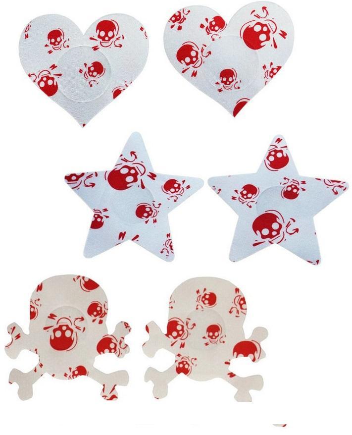 красный печататься сердце звезды черепа конструкций по защите окружающей среды безопасности охватывает сосок сексуальные синицы стикер 200pairs Одноразовая груди колодки