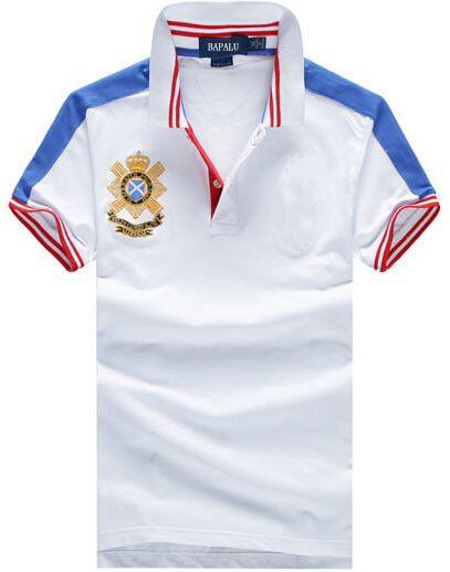 Amerikan Moda Man Klasik Polo Gömlek Kaliteli Düzenli Fit Büyük At Nakış Tişört Günlük Gömlek Katı Spor Tees Beyaz Tops