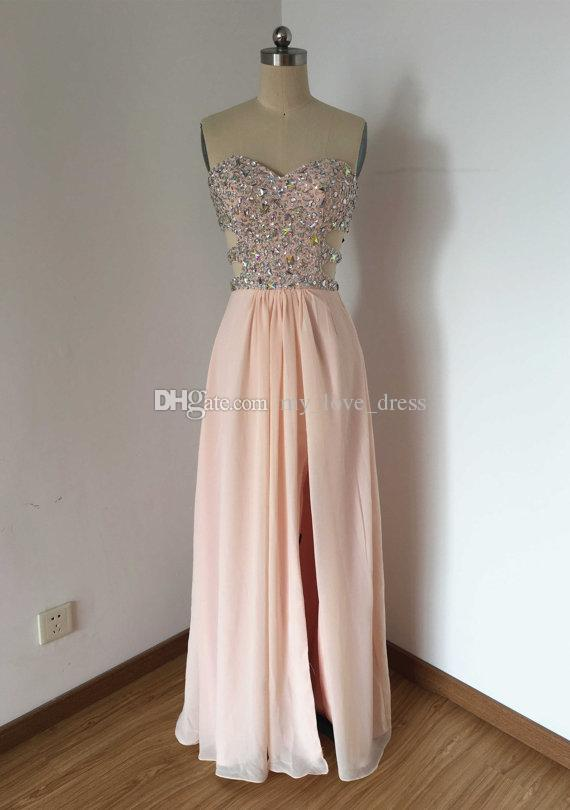 100% Real photos A-line Sweetheart Prom Dress Pale Pink Chiffon Crystal Diamond Top Long Party Dress Hollow out aside with Front Slit