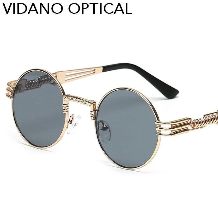 Vidano Optical redonda de metal óculos de sol Steampunk Homens Mulheres Moda Óculos Retro Sunglasses UV400 Vintage