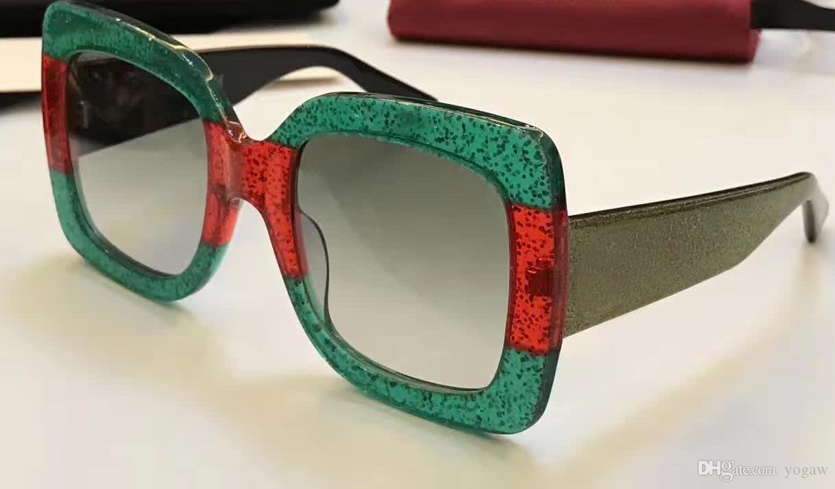 Designer Squre Multi-Color/Gold 0102S Sunglasses 0102 S GREEN GOLD MULTICOLOR Fashion Women Brand Sunglasses New with original case
