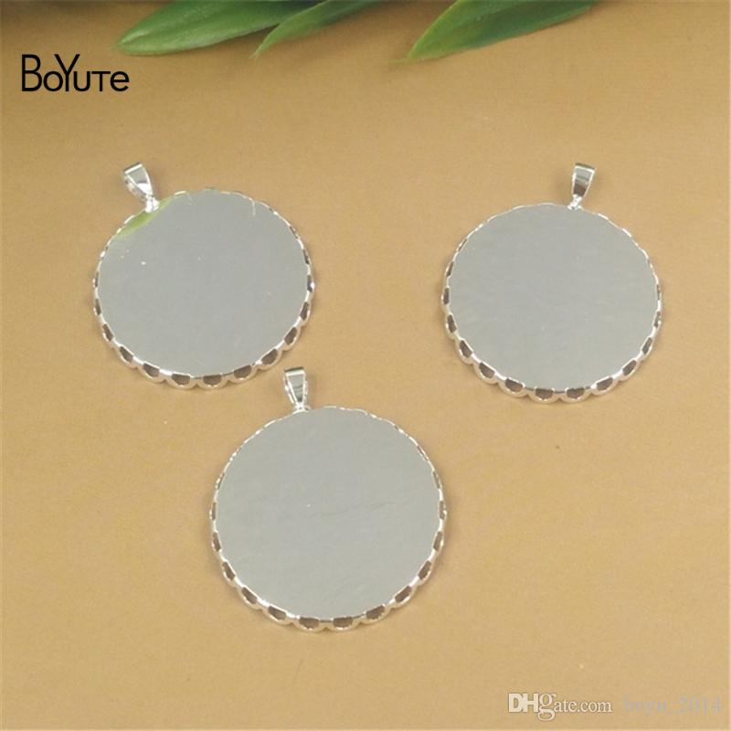 BoYuTe 50Pcs Round 20MM 25MM Hot sale Cameo Cabochon Base Setting Diy Jewelry Silver Pendant Blank Tray