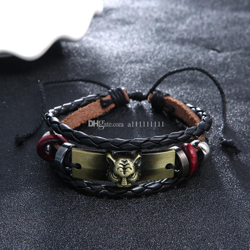 Nuovo braccialetto di cuoio della mano del pendente della lega del leopardo del braccialetto dei monili di cuoio della mano di retro modo di modo per il braccialetto di cuoio di personalità degli uomini