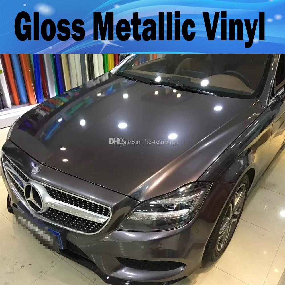 2019 Gunmetal Metallic Gloss Gray Vinyl Car Wrap Film With Air Release Antrazit Glossy Grey Candy Car Covering Stickers Size 1 52 20m 5x67ft From