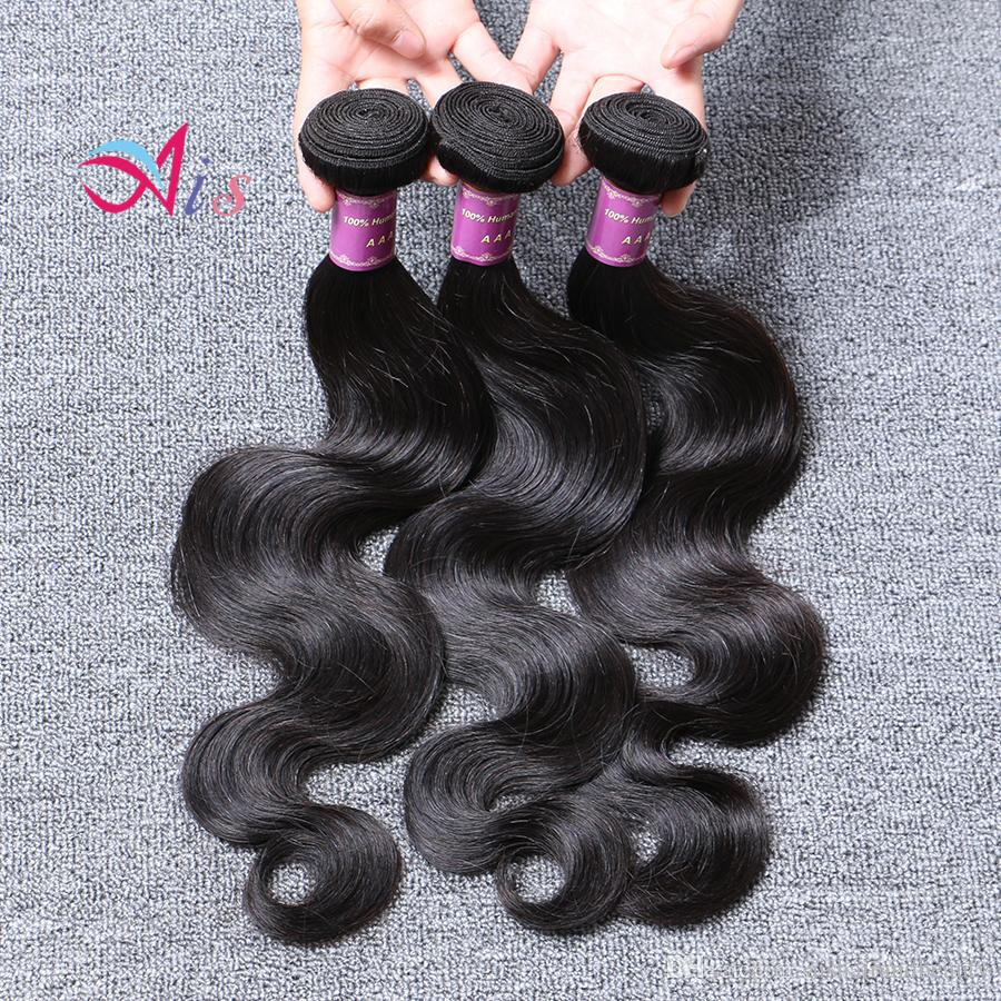 6A Dyeable Bleachable 6A Cabelo Pacotes peruana Cabelo Weave do cabelo humano extensões Natural Negro Cor HairBella frete grátis