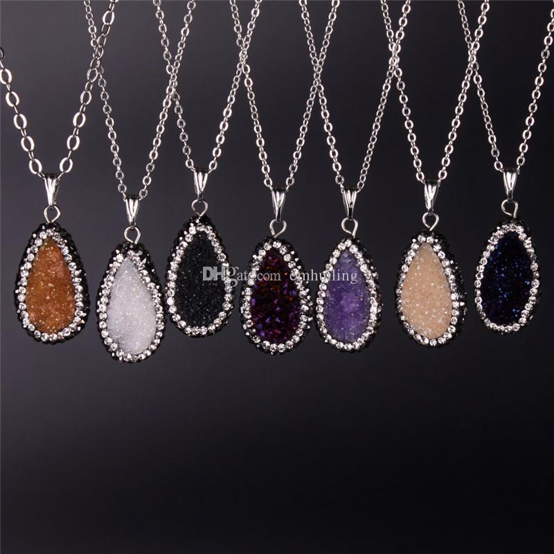 6 Colors Available Newest Druzy Amethyst Beads Necklace Oval Blue Champagne Purple White Wine Red Druzy Pave Zircon Crystal Gem Necklace