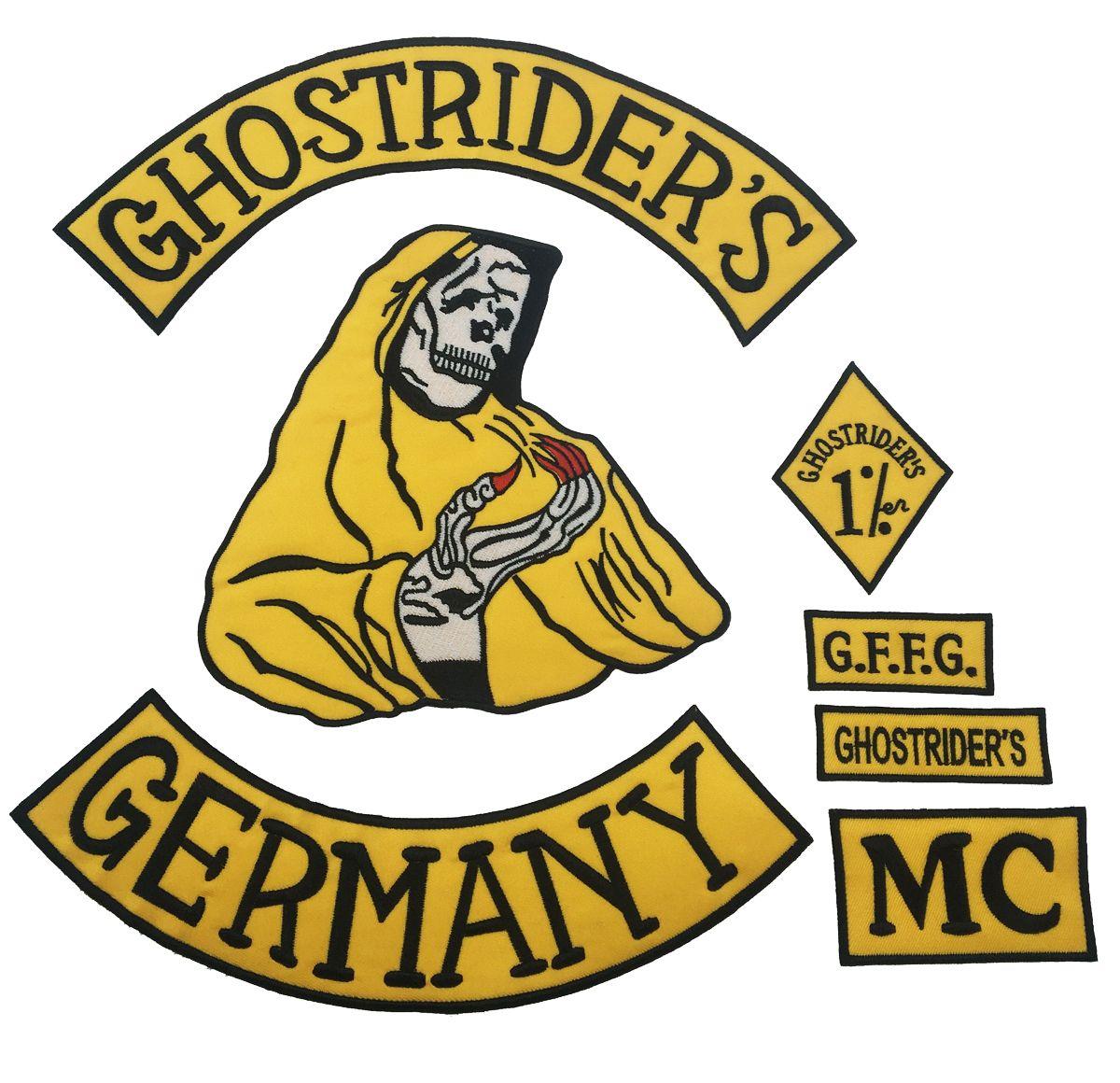 Nuovo Arrivo 7 pz / set GHOSTRIDER'S GERMANIA Ricamato Iron-On Sew On Back Patch Biker Rider Patch Per Jacket Vest Patch Spedizione Gratuita