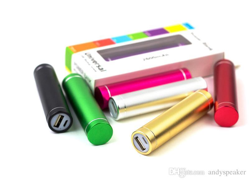 Portable Power Bank 1200mAh Alliage d'aluminium Mini Mobile Batterie de chargement de puissance universelle mobile avec paquet de détail 50pcs / up