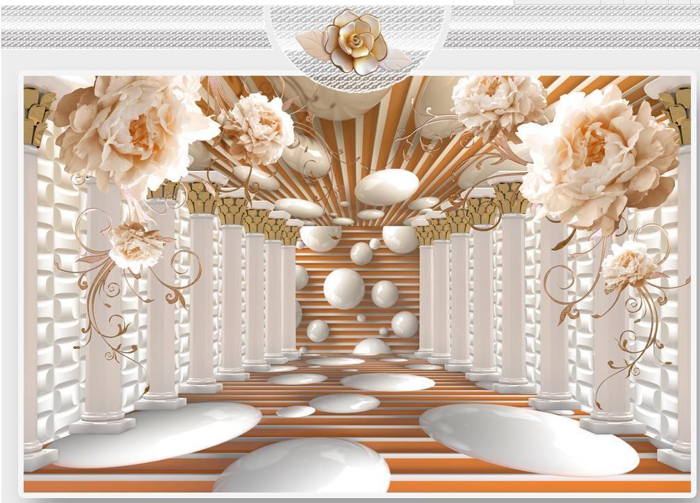arte columna romana murales de flores flor de pared de fondo mural de papel pintado 3D 3d papeles de pared para TV telón de fondo