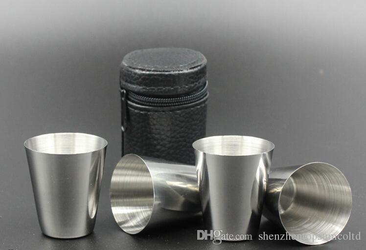 4 pçs / set Polido Mini 30 ml de Aço Inoxidável Beber Copo de Vinho Copos Barware Frete Grátis