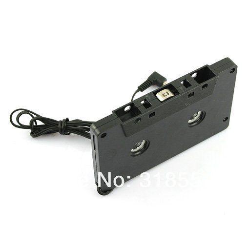 500pcs/lot 3.5mm Jack Car Audio Cassette Tape Adapter for MP3 Player CD Cell Phone White Black 0001