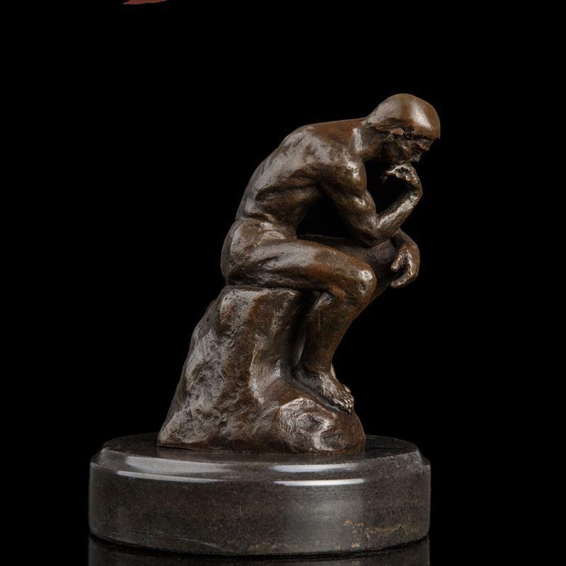 Arts Crafts Copper Célèbres Impressionnantes Bronze Statues Rodin Pure Bronze Statue Penseur avec Marbre Base Vintage Art Deco Statue en