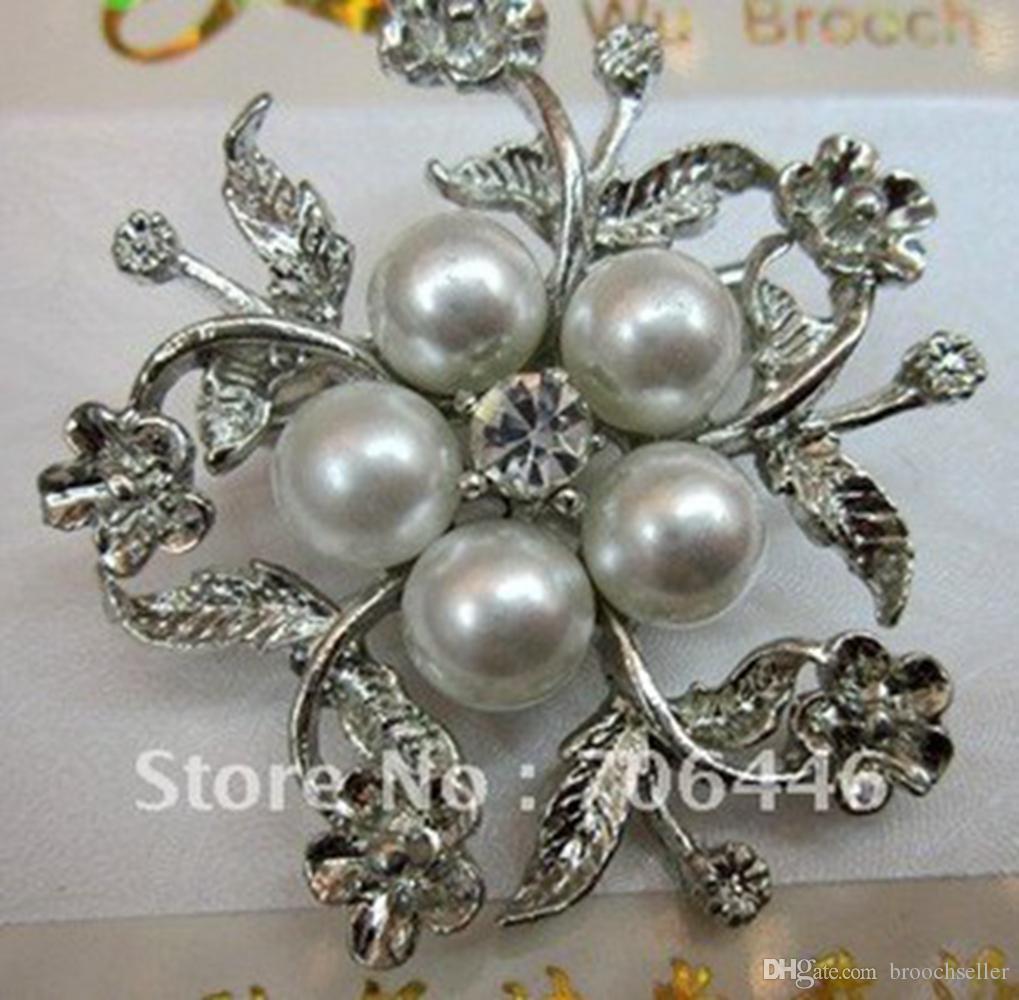 Heißer Verkäufer! Silberfarben-Legierungsblume und weiße Perlen-Design-Brosche