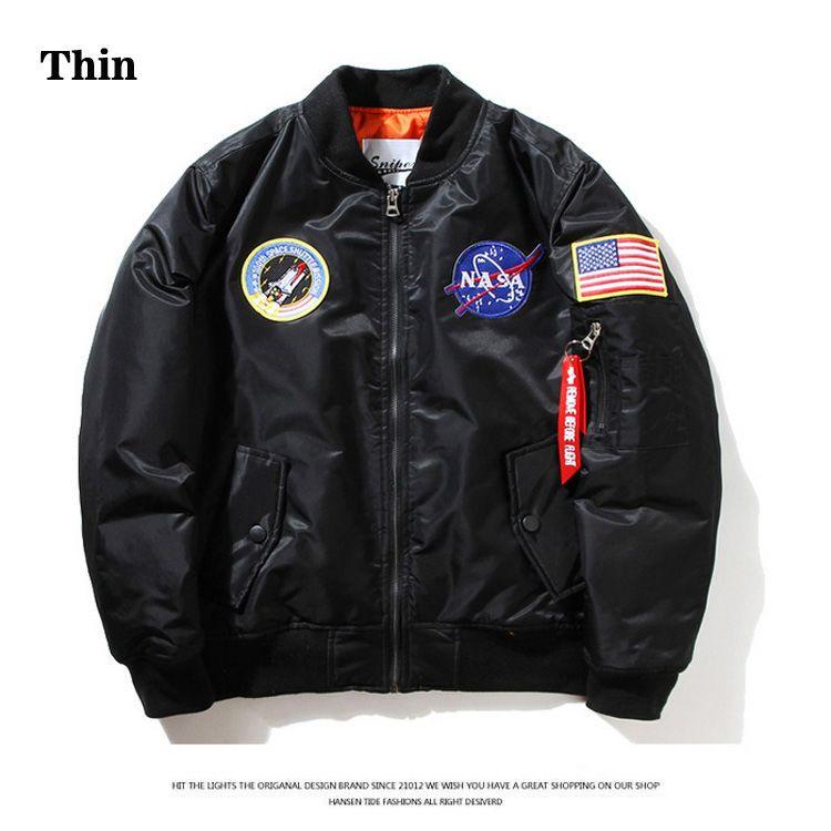 Thin NASA MA1 Bomberjacke Flugwindjacke USA Air Force Stickerei Pilot Jacke Hip Hop Jacke Bomber Mantel XS-2XL HFJK002