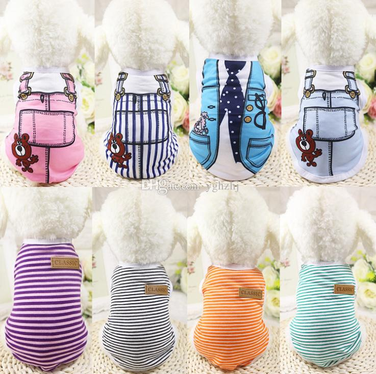 Wholesale pet clothes, new spring and summer dog vest, fake belt pet clothes, bar clothes, free shipping