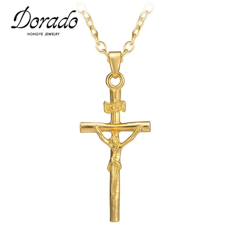 Alta calidad bajo precio color oro Jesús cruz colgante collar joyería religiosa crucifijo collar declaración joyería regalo de Navidad