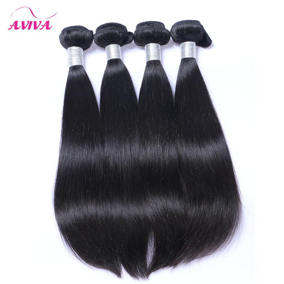 Malezya Bakire Saç Düz Saç Örgüleri Demetleri 3/4 Adet Lot Işlenmemiş Malezya İpeksi Düz Remy İnsan Saç Uzantıları Doğal Siyah
