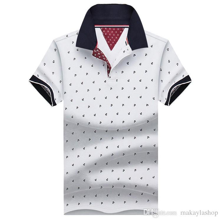 새로운 브랜드 폴로스 Mens 프린트 폴로 셔츠 100 % 코튼 반소매 캐미솔 폴로 캐주얼 스탠드 칼라 남성 폴로 셔츠 4XL