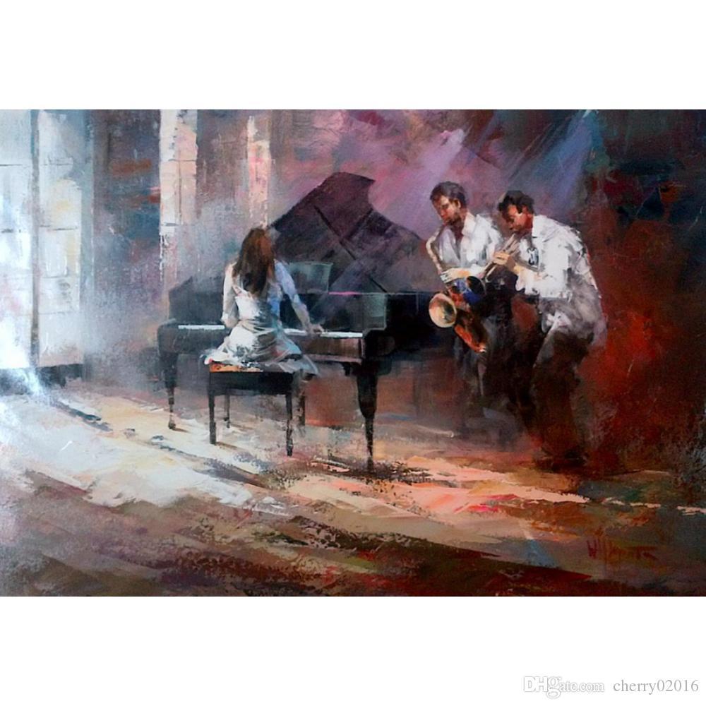 Handmade Willem Haenraets картины музыка современное искусство городские сцены холст, масло для гостиной Декор
