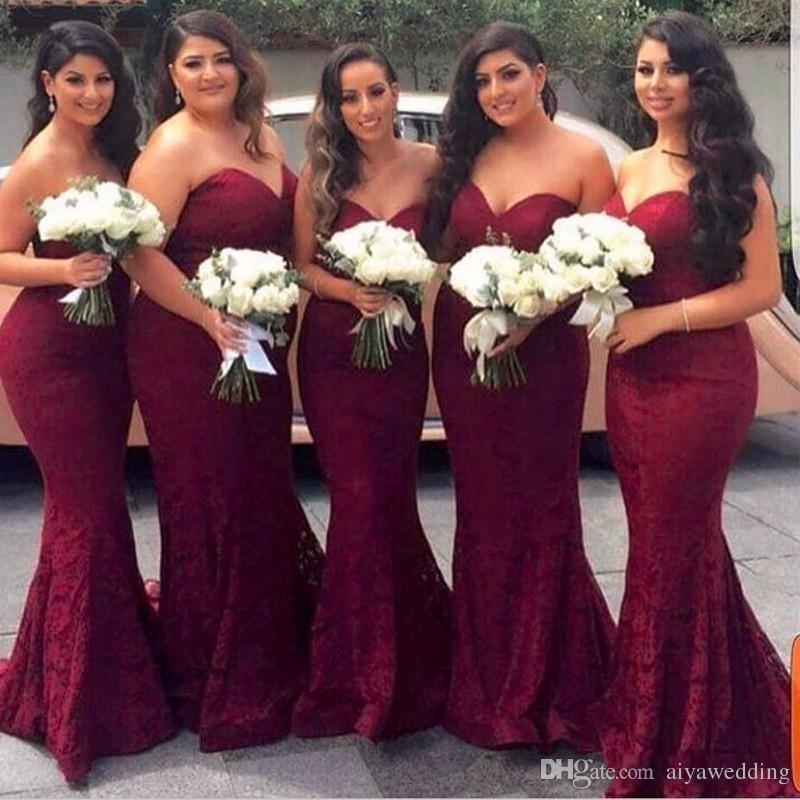 Bordo Sevgiliye Tam Dantel Gelinlik Modelleri Fermuar Geri Uzun Hizmetçi Onur Törenlerinde Mermaid Balo Abiye giyim Düğün Konuk Elbiseler