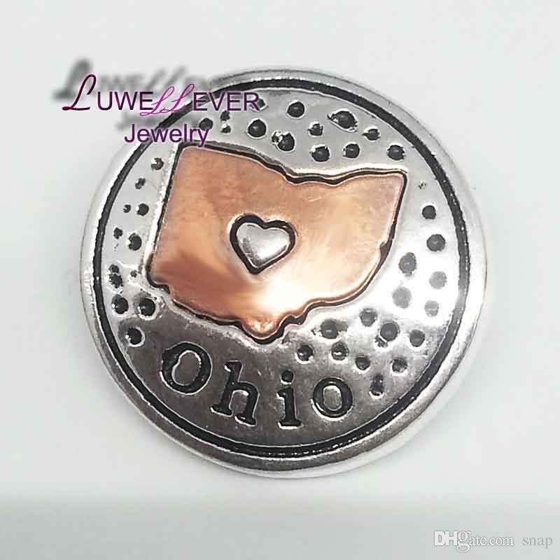 Flor de alta qualidade Ohio W223 18mm 20mm strass botão de metal para o botão de pressão Pulseira Colar de Jóias Para As Mulheres jóias de Prata