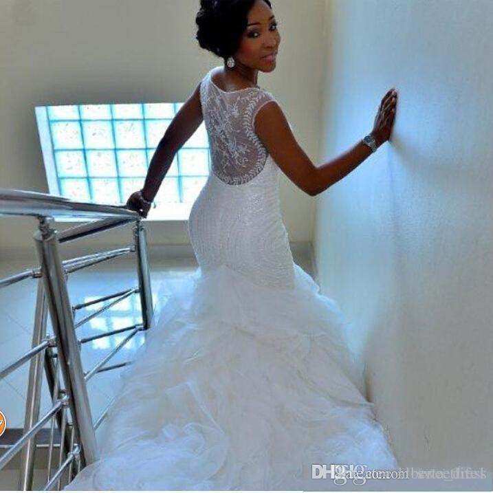 Modest Nigerian Wedding Dresses Mermaid Beading Organza See Through ...