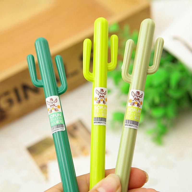 Al por mayor-3pcs / lot lindo Cactus diseño Gel pluma / Bolígrafos, Lápices de Escritura de Suministros / Regalo de Moda / Material Escolar Oficina