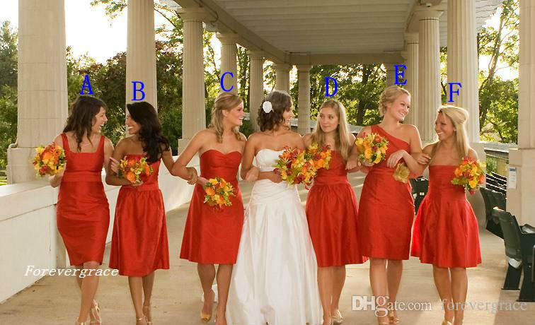 Cheap Hot Sale Six Styles Bridesmaid Dress Knee Length Garden Formal Wedding Party Guest Maid of Honor Gown Plus Size Custom Made
