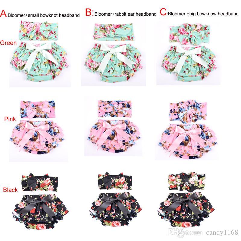 Atacado malha de algodão floral Bebés Meninas Bloomer Set Verde Ruffle recém-nascido Diaper incluir a correspondência Headband Set 2pcs bebê Shorties
