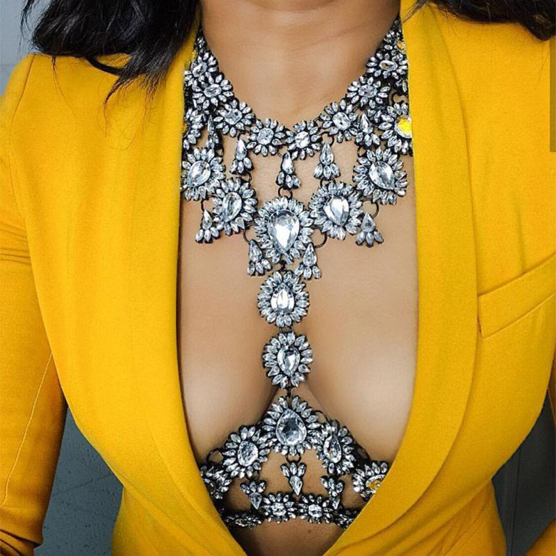 Wholesale- 2020 HOT Fashion Sex Exquisite Body Chains Vintage crystal necklaces For Women Statement Bijoux Femme Jewelry bodychain